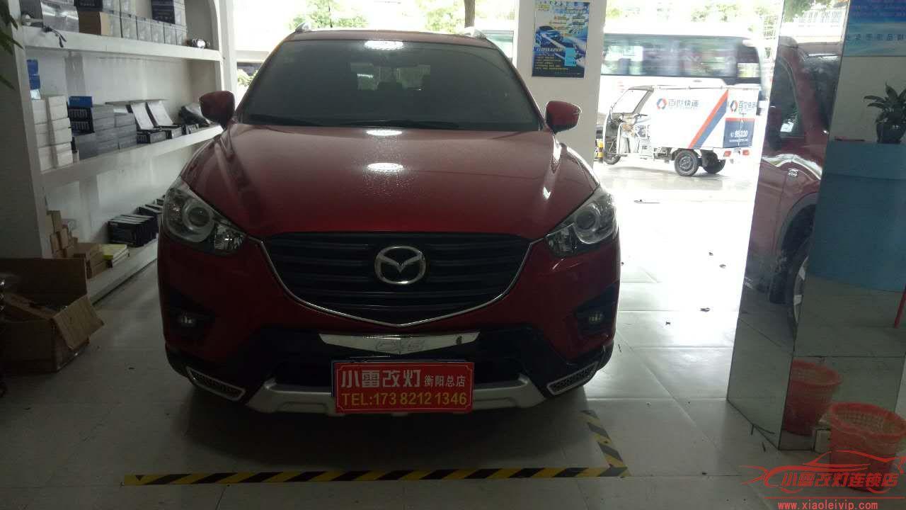 小雷改灯衡阳店马自达CX-5升级海拉五+白色天使眼+红色恶魔眼