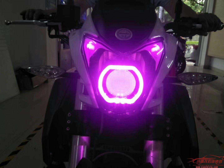 摩托车升级实例 | 【小雷改灯】摩托车升级海拉5双光透镜+紫色恶魔眼 白色天使眼